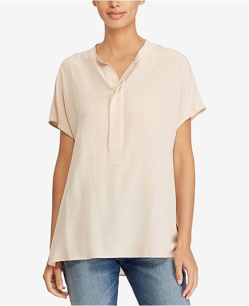 e5bfc74c05c7e Polo Ralph Lauren Short-Sleeve Silk Blouse   Reviews - Tops ...