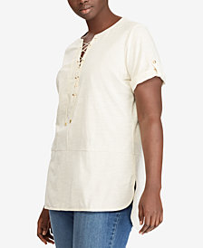 Lauren Ralph Lauren Plus Size Lace-Up Cotton Top