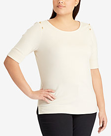 Lauren Ralph Lauren Plus Size Embroidered Top