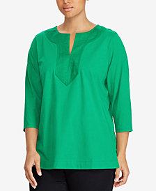 Lauren Ralph Lauren Plus Size Split-Neck Tunic
