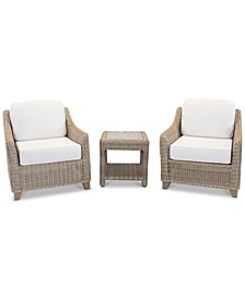 Willough Outdoor 3-Pc. Set (2 Club Chairs & 1 End Table), with Sunbrella® Cushions, Created for Macy's