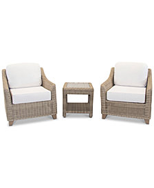 Willough Outdoor 3-Pc. Set (2 Club Chairs & 1 End Table), Created for Macy's