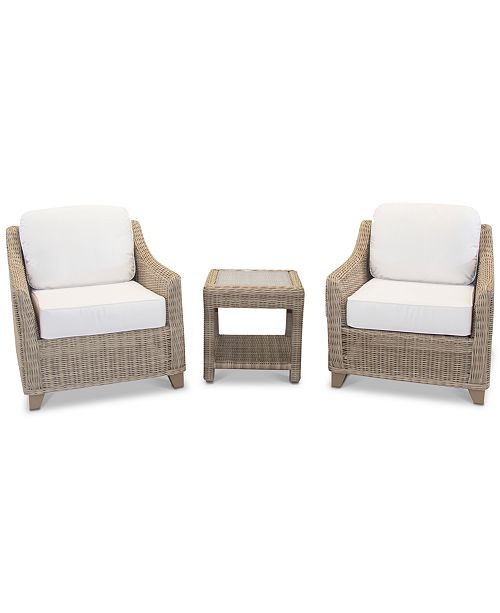 Furniture Willough Outdoor 3-Pc. Set (2 Club Chairs & 1 End Table), with Sunbrella® Cushions, Created for Macy's