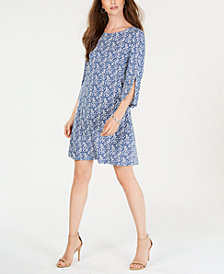 MSK Petite Puffed-Paint A-Line Dress