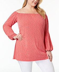 MICHAEL Michael Kors Plus Size Leopard-Print Off-The-Shoulder Top