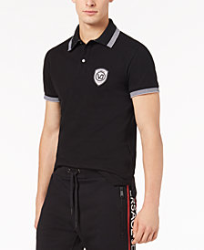 Versace Men's Striped-Collar Logo Polo