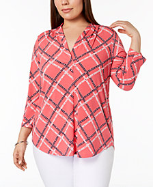 Charter Club Plus Size Printed V-Neck Top, Created for Macy's