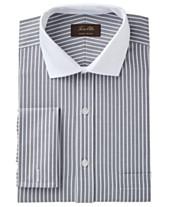 caf2e6d2c18 Tasso Elba Men s Classic Regular Fit Non-Iron Twill Bar Stripe French Cuff  Dress