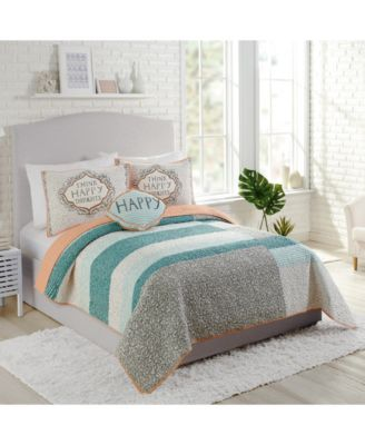 Molly Hatch by Happy Thoughts Cotton Reversible 3-Pc. Full/Queen Quilt Set