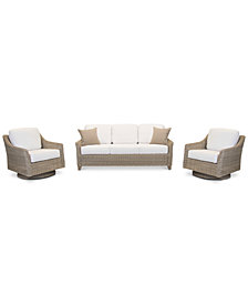 Willough Outdoor 3-Pc. Set (1 Sofa & 2 Swivel Gliders), with Sunbrella® Cushions, Created for Macy's