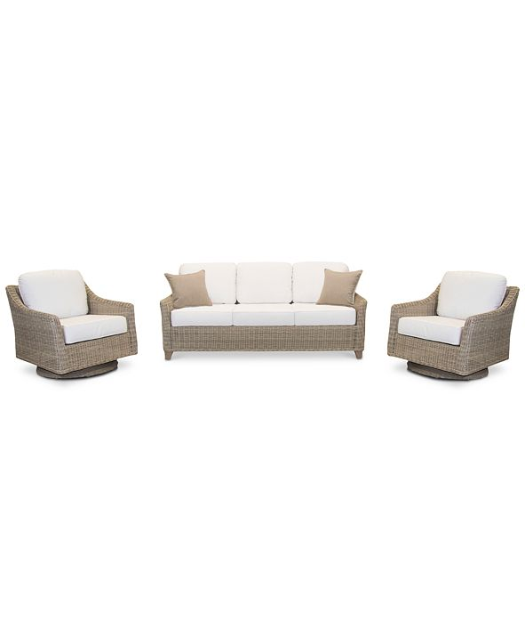 Furniture Willough Outdoor 3-Pc. Set (1 Sofa & 2 Swivel Gliders), with Sunbrella® Cushions, Created for Macy's