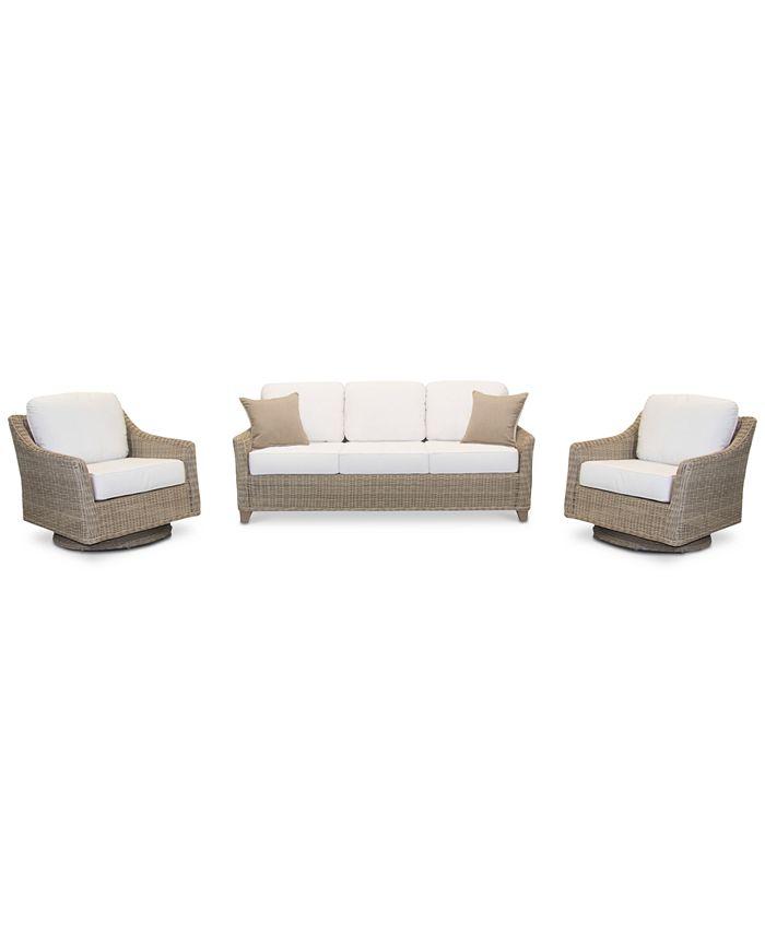 Furniture - Willough Outdoor 3-Pc. Set (1 Sofa & 2 Swivel Gliders)