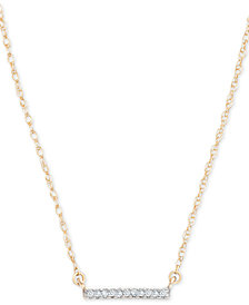 "Elsie May Diamond Accent Bar Pendant Necklace in 14k Gold, 15"" + 1"" extender, Created for Macy's"