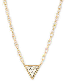 "Elsie May Diamond Accent Triangle Pendant Necklace in 14k Gold, 15"" + 1"" extender, Created for Macy's"