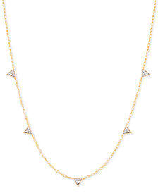 "Elsie May Diamond Micro Triangle Collar Necklace (1/10 ct. t.w.) in 14k Gold, 15"" + 1"" extender, Created for Macy's"