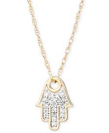 "Diamond Accent Hamsa Hand Pendant Necklace in 14k Gold, 15"" + 1"" extender, Created for Macy's"