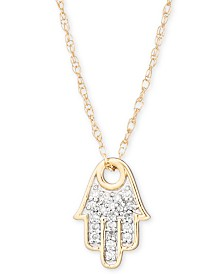 "Elsie May Diamond Accent Hamsa Hand Pendant Necklace in 14k Gold, 15"" + 1"" extender, Created for Macy's"