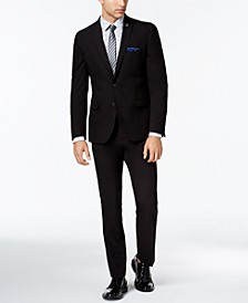 Men's Slim-Fit Stretch Black Solid Suit