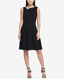 DKNY Draped Bow Fit & Flare Dress, Created for Macy's