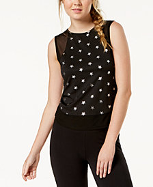 Material Girl Active Juniors' Metallic-Print Mesh Tank Top, Created for Macy's