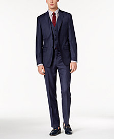 Calvin Klein Men's Slim-Fit Stretch Blue Check Vested Suit