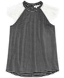 Monteau Big Girls Lace-Sleeve Striped Top