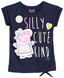 Peppea Pig Little Girls Tie-Front Graphic-Print T-Shirt