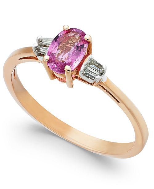 Macy's Pink Sapphire (3/4 ct. t.w.) & Diamond Accent Ring in 14k Rose Gold