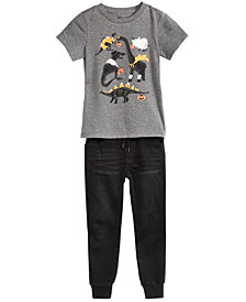 Epic Threads Toddler Boys Graphic-Print T-Shirt & Knit Denim Jogger Separates, Created for Macy's