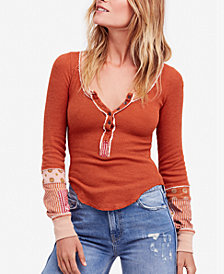 Free People Railroad Mixed Print Henley