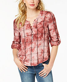 American Rag Juniors' Tie-Dye Plaid Button-Up Top, Created for Macy's
