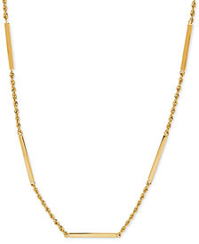 "Square Bar & Rope Chain 18"" Statement Necklace in 10k Gold"