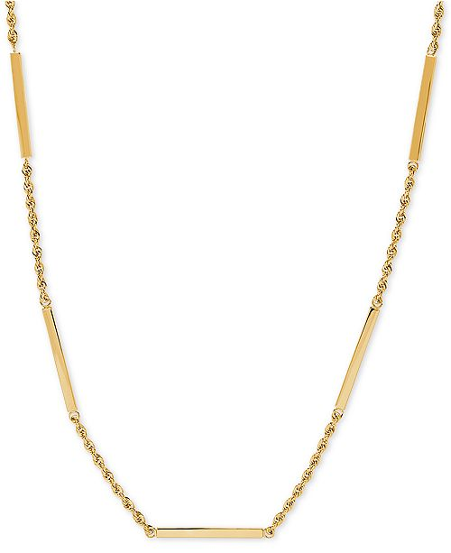 "Macy's Square Bar & Rope Chain 18"" Statement Necklace in 10k Gold"