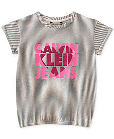 Calvin Klein Big Girls Cinched Hem Cotton T-Shirt