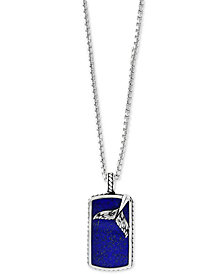 "EFFY® Men's Lapis Lazuli Dolphin Tail Dog Tag 22"" Pendant Necklace in Sterling Silver"