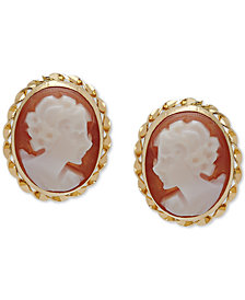 Cameo Stud Earrings in 10k Gold