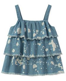 Calvin Klein Ruffle Bleach Splatter Cotton Top, Big Girls