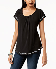 NY Collection Petite Studded-Trim Top