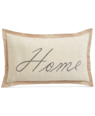 "Home Embroidered 14"" x 24"" Decorative Pillow, Created for Macy's"