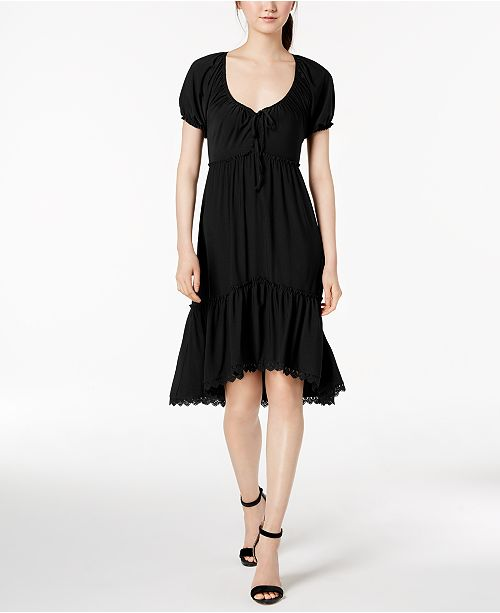 Anne Dress Peasant Tiered Flare Fit Black Klein amp; S1YSrq