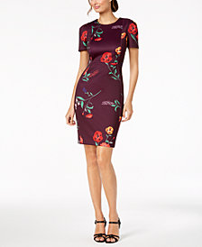 Calvin Klein Floral-Print Scuba Sheath Dress, Regular & Petite