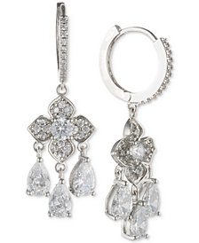 "Jenny Packham 4/5"" Crystal Hoop & Flower Drop Earrings"