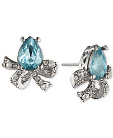Jenny Packham Silver-Tone Pavé & Stone Bow Stud Earrings
