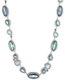 """Jenny Packham Silver-Tone Pavé & Stone Collar Necklace, 16"""" + 2"""" extender"""
