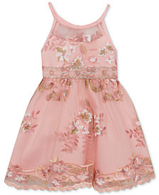 Rare Editions Baby Girls Embroidered Illusion Dress