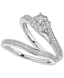 Diamond Halo & Pavé Bridal Set (1/2 ct. t.w.) in 14k White Gold