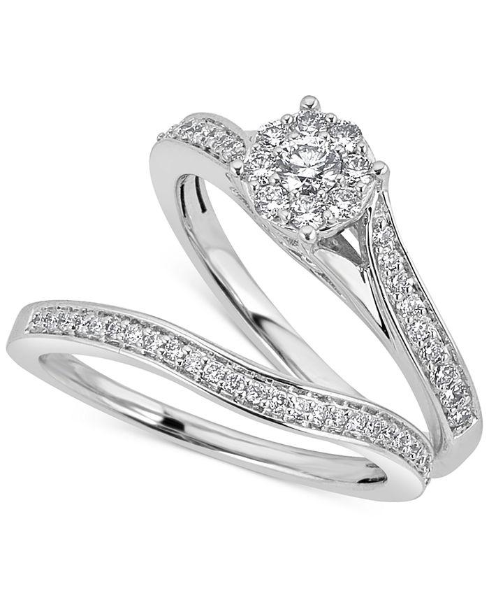 Macy's - Diamond Halo & Pavé Bridal Set (1/2 ct. t.w.) in 14k White Gold