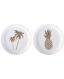 Zuo Palm Tree & Pineapple 2-Pc. White & Gold Tray Set
