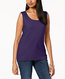Karen Scott Cotton Sleeveless Scoop-Neck Top, Created for Macy's