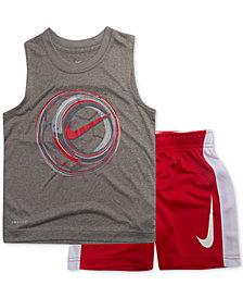 Nike Toddler Boys 2-Pc. Soccer-Print Muscle Tank & Shorts Set
